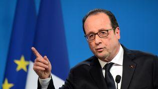 La président de la République, François Hollande, prononce ses vœux à Tulle (Corrèze), le 17 janvier 2015. (NICOLAS TUCAT / AFP)