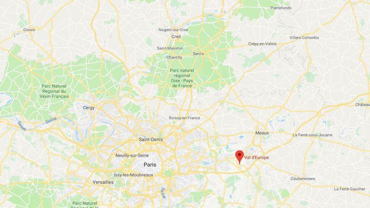 Les démineurs ont neutralisé une voiture suspecte dans le parking du centre commercial Val-d'Europe, àSessis(Seine-et-Marne), le 1er juin 2018. (GOOGLE MAPS)