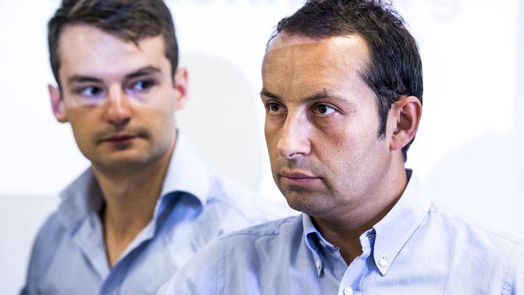 Sébastien Chenu participe à une conférence de presse sur le mouvement Nouvelle Donne, à Paris, le 16 août 2012. ( MAXPPP)