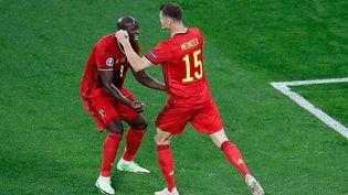 Le duo Romelu Lukaku - Thomas Meunier a permis de porter la Belgique face à la Russie à Saint-Pétersbourg, samedi 12 juin 2021. (ANTON VAGANOV / POOL)