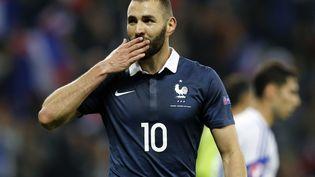 Karim Benzema célèbre un but contre l'Arménie, le 8 octobre 2015 à Nice (Alpes-Maritimes). (VALERY HACHE / AFP)