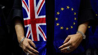Une eurodéputée porte une écharpe aux couleurs du Royaume-Uni et de l'Union européenne, le 29 janvier 2020 à Bruxelles (Belgique). (JOHN THYS / AFP)