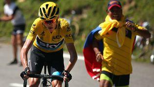 Le coureur britannique Christopher Froome lors de la 10e étape du Tour de France entre Tarbes et La Pierre Saint-Martin, le 14 juillet 2015. (BRYN LENNON / GETTY IMAGES)