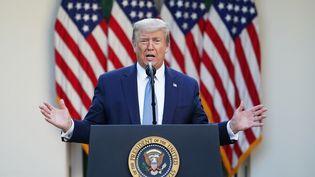 Le président américain Donald Trump lors d'une conférence de presse sur le coronavirus à la Maison blanche, à Washington, le 15 avril 2020. (MANDEL NGAN / AFP)