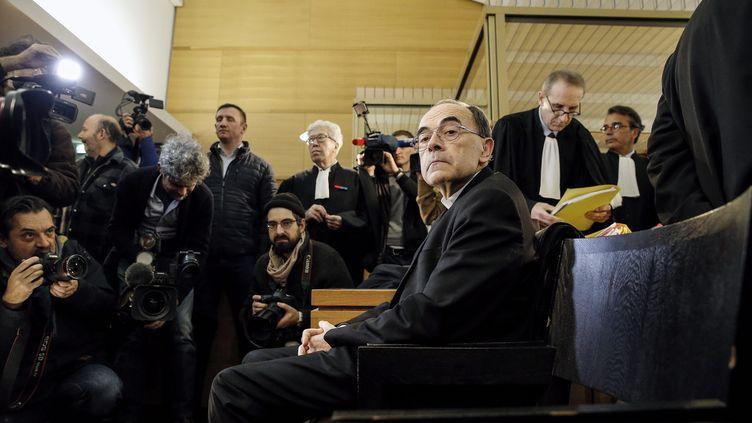 Le cardinal Philippe Barbarin, le 7 janvier 2018, au premier jour de son procès devant le tribunal correctionnel de Lyon. (MAXPPP)