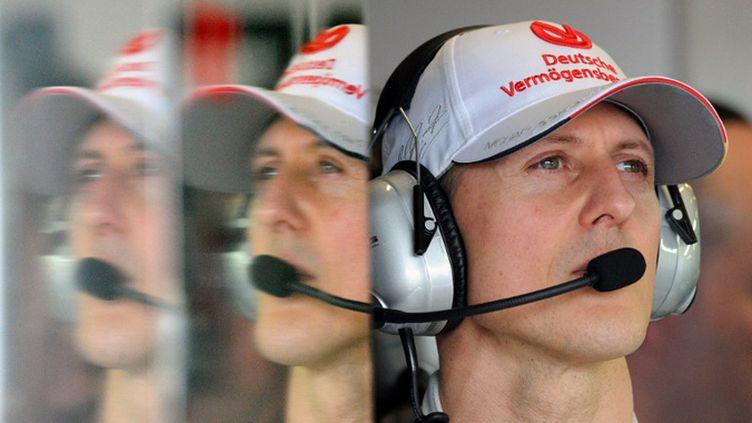 """2012 marque la fin de carrière de Michael Schumacher. """"Il arrive un moment où il faut dire au revoir"""", explique Schumi. A presque 44 ans, le septuple champion du monde préfère laisser sa place aux plus jeunes. (TORSTEN BLACKWOOD / AFP)"""