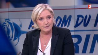 Capture d'écran montrant Marine Le Pen sur le plateau du journal de 20H de France 2, le 24 avril 2017 (FRANCE 2)