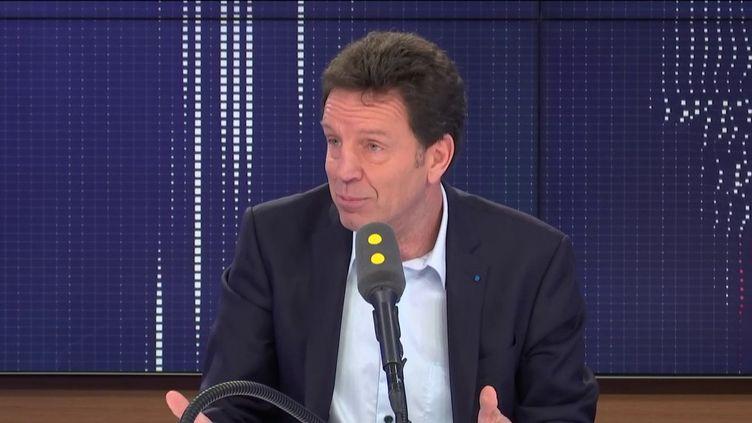 """Geoffroy Roux de Bézieux, président du Medef, invité du """"8h30 franceinfo"""", lundi 10 février 2020. (FRANCEINFO / RADIOFRANCE)"""