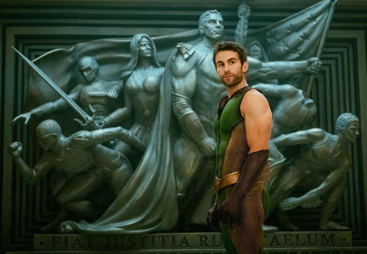 """Chace Crawford incarne The Deep dans la série """"The Boys"""", un super-héros qui rappelle Aquaman. (JAN THIJS/AMAZON PRIME VIDEO)"""