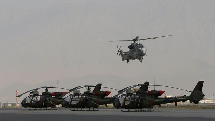 UnCaracal du 5e régiment d'hélicoptères de combat survole des hélicoptères Gazelle, le 18 août 2012,dans la zone militaire française de l'aéroport de Kaboul (Afghanistan). (ALEXANDER KLEIN / AFP)