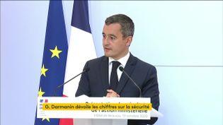 Gérald Darmanin, ministre de l'Intérieur, lors de la présentation mensuelle des chiffres de l'activité des forces de l'ordre, le 13 octobre 2020. (FRANCEINFO)