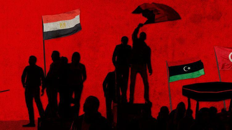 En 2011, plusieurs pays arabes ontvécu une révolution qui a abouti à la chute de leur dirigeant. (ED GILES/CORBIS/PHILIPPE TURPIN/GETTY IMAGES/ELLEN LOZON/FRANCEINFO)