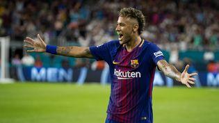 L'attaquant brésilien Neymar Jr. lors d'un match opposant le FC Barcelone au Real Madrid, le 29 juillet 2017 aux Etats-Unis. (IRA L. BLACK - CORBIS / CORBIS SPORT / GETTY IMAGES)