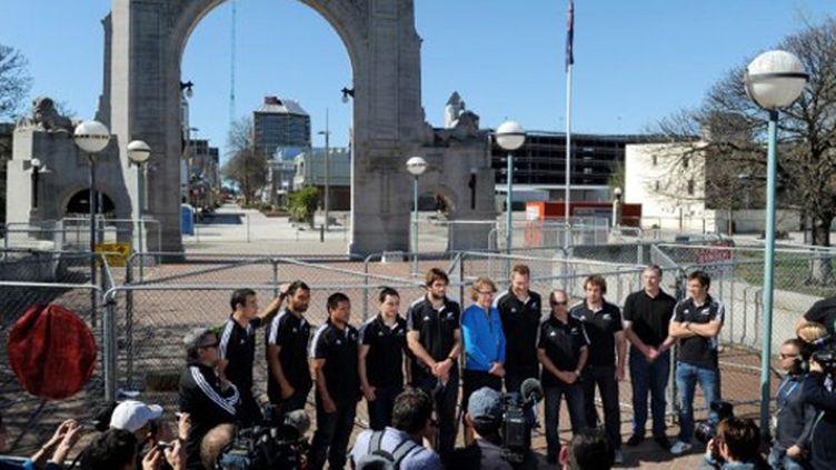 Les All Blacks en visite à Christchurch (WILLIAM WEST / AFP)