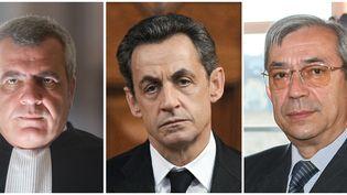 L'avocatThierry Herzog, Nicolas Sarkozy, et le juge Gilbert Azibert, ont été mis en examen, mercredi 2 juillet 2014. (THOMAS COEX / AFP)