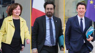 Les ministres Nathalie Loiseau, Benjamin Griveaux et le secrétaire d'Etat Mounir Mahjoubi quittent l'Elysée, en mars 2019. (LUDOVIC MARIN/AFP)