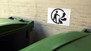 Le logo Triman est apposé au-dessus de poubelles vertes, le 20 mars 2014 à Paris. (ALAIN JOCARD / AFP)