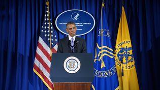 Le président américain, Barack Obama, le 16 septembre 2014, au Centre pour le contrôle et la prévention des maladies,à Atlanta (Etats-Unis). (MANDEL NGAN / AFP)