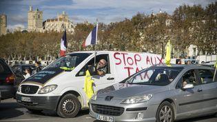 Des manifestants contre la hausse des prix des carburants dans les rues de Narbonne (Aude), dimanche 11 novembre 2018. (BIGOU GILLES / HANS LUCAS / AFP)