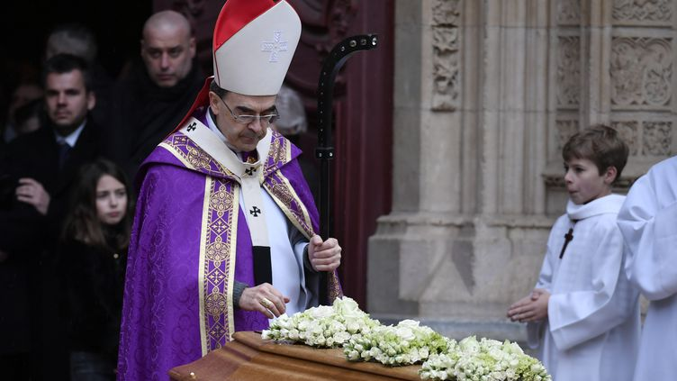 Le cardinal Barbarin, le 26 janvier 2018, à Lyon. (JEFF PACHOUD / AFP)