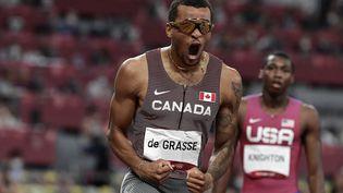 Le Canadien Andre de Grasse, champion olympique du 200 mètres aux Jeux de Tokyo. (JAVIER SORIANO / AFP)