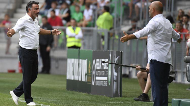 Pascal Dupraz et Christophe Galtier ont vu un mauvais 0-0 (PHILIPPE DESMAZES / AFP)