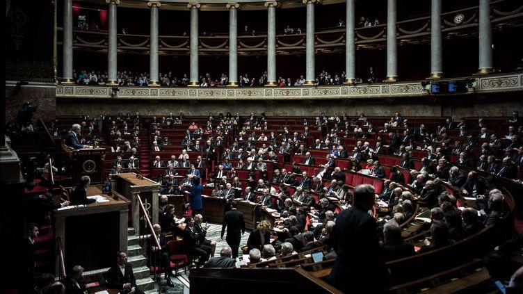L'hémicycle de l'Assemblée nationale. (PHILIPPE LOPEZ / AFP)