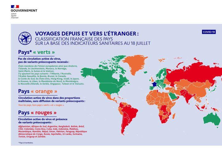Classification des pays établis par la France au 18 juillet selon la circulation du Sars-Cov-2, le virus responsable du Covid-19. (SERVICE D'INFORMATION DU GOUVERNEMENT - FRANCE)