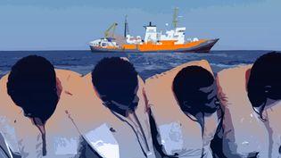 """M'Bemba est arrivé en Europe après avoir été sauvé par l'""""Aquarius"""", le navire de l'ONG SOS Méditerranée. (AWA SANE / FRANCEINFO)"""