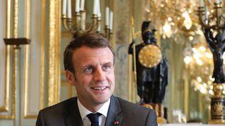 Emmanuel Macron à l'Elysée, le 12 avril 2019, à Paris. (LUDOVIC MARIN / AFP)