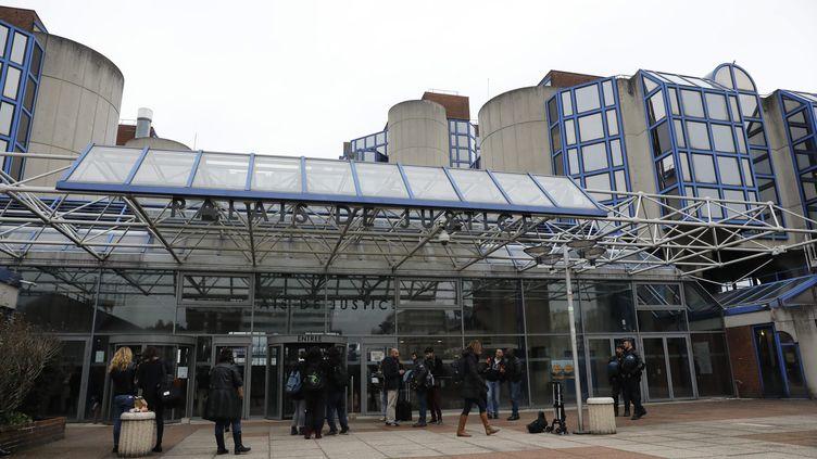 Lentrée dutribunal de grande instance de Bobigny (Seine-Saint-Denis), le 20 février 2017. (MAXPPP)