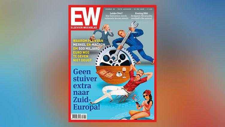 """La une du magazine néerlandais """"Elsevier Weekblad"""" du 30 mai 2020. """"Pourquoi le plan de Merkelet Macron n'est pas bon : pas u nsou de plus pour l'Europe du Sud"""". (CAPTURE D'ÉCRAN)"""