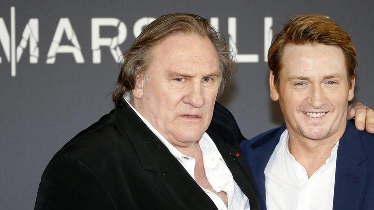 """Gérard Depardieu et Benoït Magimel, lors de l'avant-première de """"Marseille"""".  (G.Horcajuelo/EPA/MaxPPP)"""