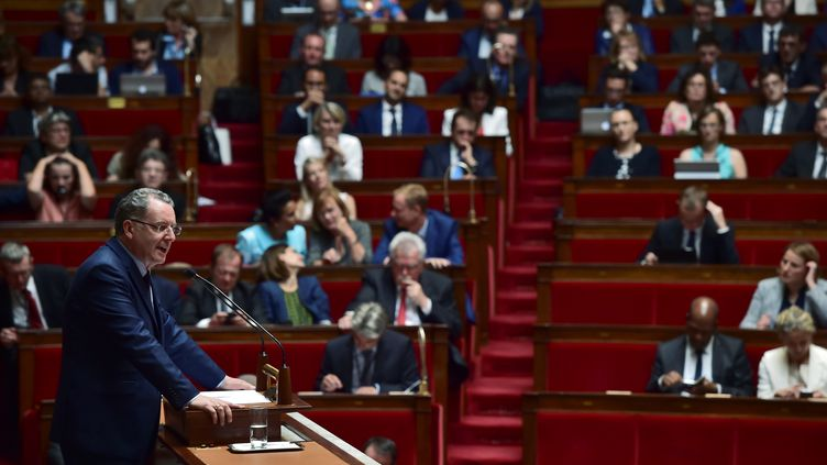 Richard Ferrand s'exprime à l'Assemblée nationale après le discours de politique générale d'Edouard Philippe, le 4 juillet 2017. (CHRISTOPHE ARCHAMBAULT / AFP)