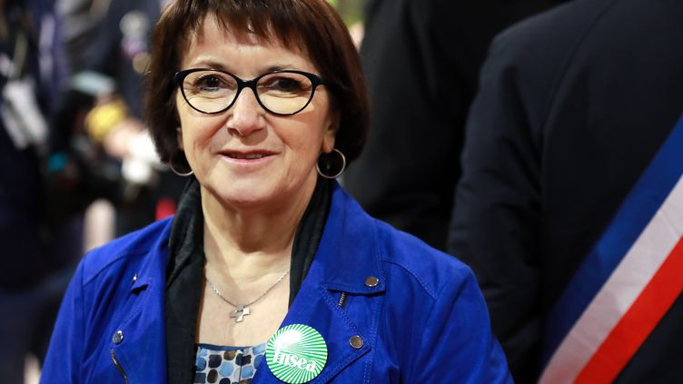 Christiane Lambert, présidente de la FNSEA, lors de l'inauguration de la 57e édition du Salon de l'agriculture, le 22 février 2020. (LUDOVIC MARIN / AFP)
