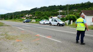 Un gendarme se tient sur laD813, à l'endroit où Mélanie Lemée est morte deux jours auparavant, le 6 juillet 2020. (MEHDI FEDOUACH / AFP)