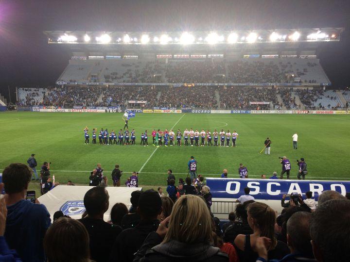 Le Sporting Club de Bastia face à la réserve d'Ajaccio lors d'un match de National 3 à Furiani, le 14 octobre 2017. (Clément Pons)