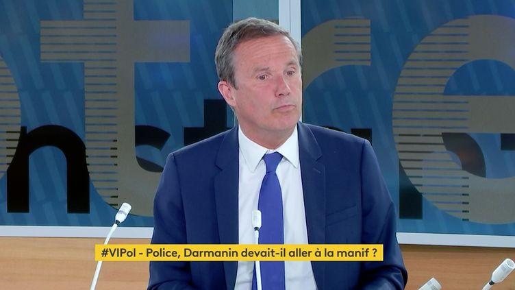 Nicolas Dupont-Aignan était l'invité de franceinfo canal 27, le 20 mai 2021. (FRANCEINFO)