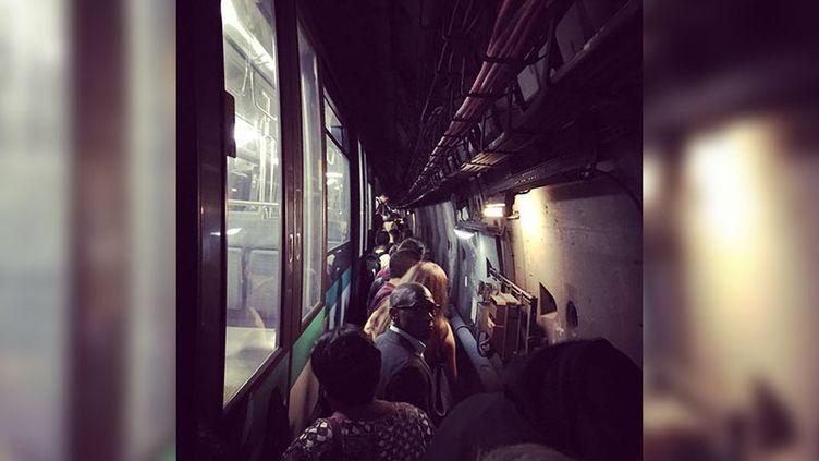 La ligne 14 du métro a été totalement bloquée par une panne électrique mercredi 29 août au soir. (TOMMY CATTANEO / RADIO FRANCE)