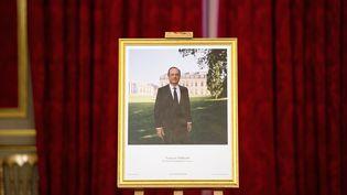 Le portrait officiel de François Hollande réalisé par Raymond Depardon et dévoilé, lundi 4 juin 2012, à l'Elysée à Paris. (BERTRAND LANGLOIS / AFP)