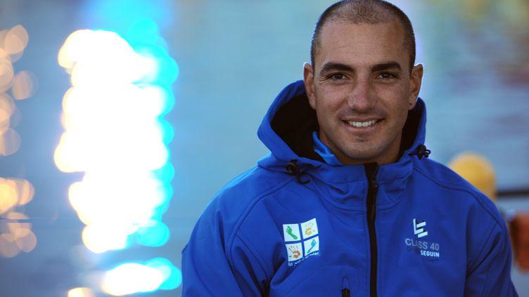 Damien Seguin, premier skipper handicapésur le Vendée Globe. (JEAN-FRANCOIS MONIER / AFP)