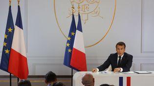 Le président Emmanuel Macron lors de sa conférence de presse, le 25 avril 2019. (LUDOVIC MARIN / AFP)