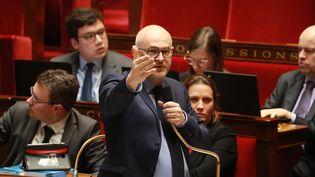 Le secrétaire d'Etat aux Retraites, LaurentPietraszewski, devant l'Assemblée nationale, le 24 février 2020. (LUDOVIC MARIN / AFP)