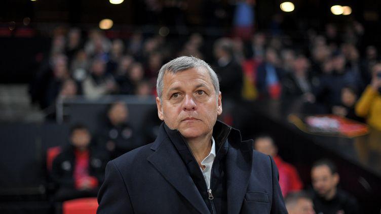 Bruno Genesio lors d'un match de Ligue 1 opposant l'OL au Stade rennais, le 29 mars 2019. (LOIC VENANCE / AFP)