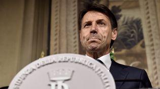 Le nouveau Premier ministre italien, Giuseppe Conte, lors de l'annonce de la liste des membres du gouvernement, au Palais présidentiel Quirinal, le 31 mai 2018, à Rome (Italie). (TIZIANA FABI / AFP)