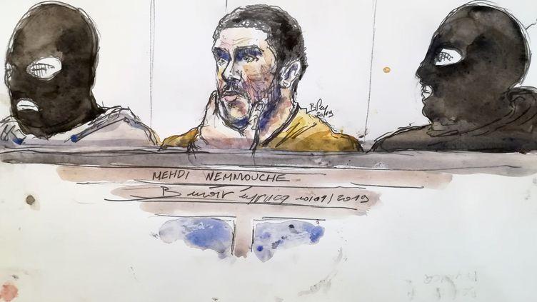 Le jihadiste français Mehdi Nemmouche, lors de son procès à Bruxelles, le 10 janvier 2019. (BENOIT PEYRUCQ / AFP)