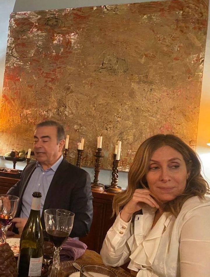 Carlos Ghosn et son épouseCarole Ghosn, le 31 décembre 2019, à Beyrouth (Liban). (FRANCE TELEVISIONS)