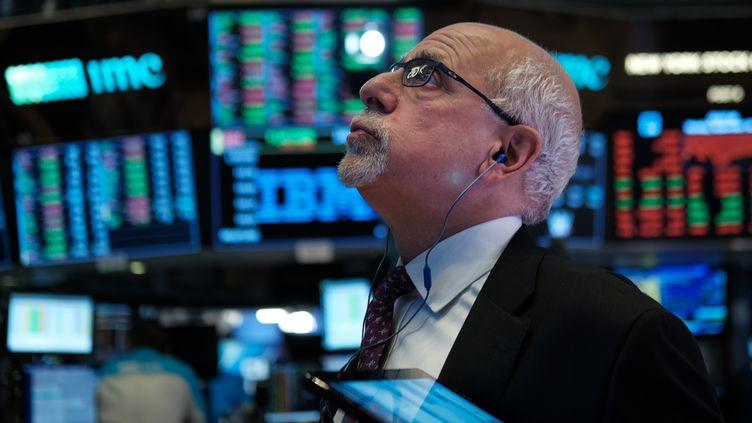 Un trader à la bourse de New York, le 16 septembre 2019 (illustration). (SPENCER PLATT / GETTY IMAGES NORTH AMERICA /AFP)