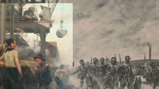 """Le """" Chevalet de mine en Lorraine """" de Maurice Réalier-Dumas : à gauche, la partie exposée avec les mineurs ; à droite, la partie tronquée avec les soldats  (Musée de Gajac)"""