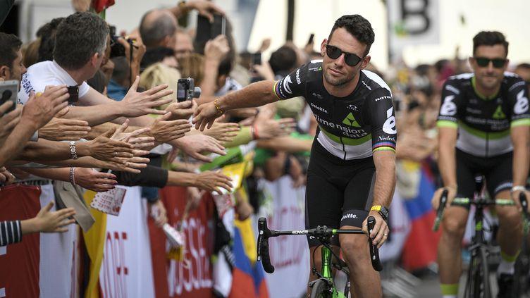 Mark Cavendish lors de la présentation des équipes.  (LIONEL BONAVENTURE / AFP)